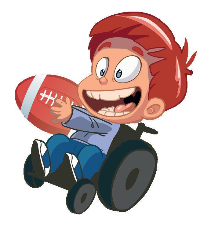 enfant en fauteuil avec ballon de rugby